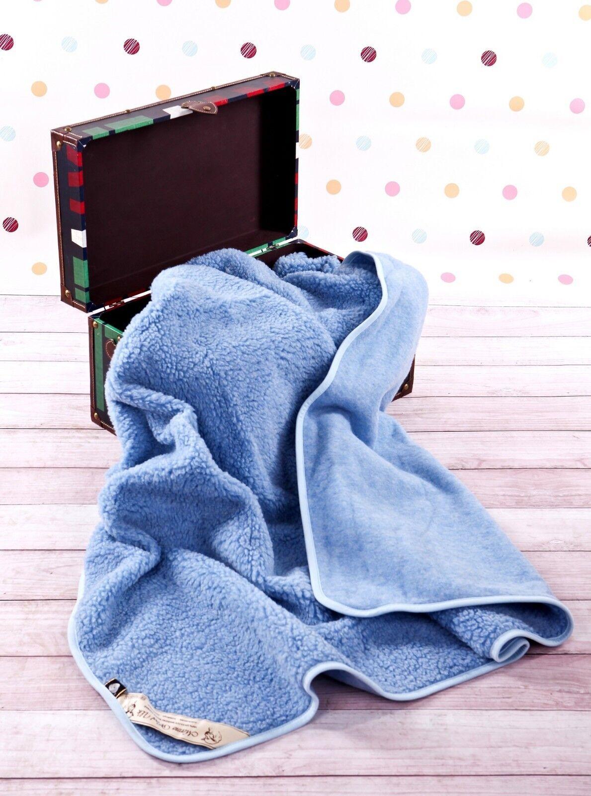 100% Merino Wool Bambino Junior Bambini Coperta 150 x 120 cm Nuovo blue