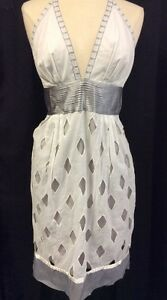 CATHERINE-MALANDRINO-Silver-amp-White-Zip-Up-Halter-Knee-Length-Shift-Dress-Sz-10