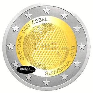 Piece-2-euros-commemorative-SLOVENIE-2018-Journee-Mondiale-des-Abeilles-UNC