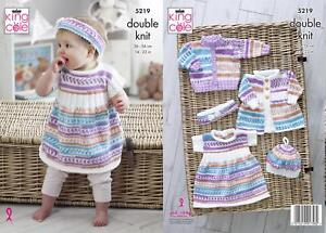163e863f5102 King Cole 5219 Knitting Pattern Baby Cardigan Dress Coat Beret in ...