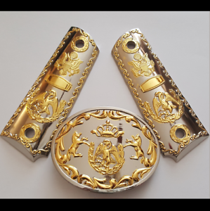 GUNS-GRIPS-CACHAS-For-1911-Colt-45-Nickel-gold-Mexican-Eagle-grips