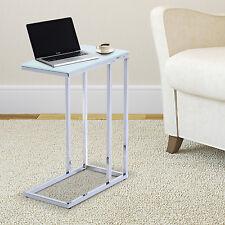 Homcom - Tavolo per PC Portatile Laptop Multiuso in Vetro Temperato Bianco
