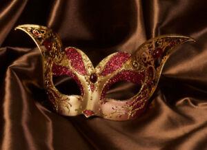 Maschera Di Venezia Gatto Gattino Rosso Dorata Carta Mache Metallo Top Qualità