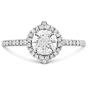 1.10 Ct Certified Moissanite Anniversary Ring 18K Solid White Gold ring Size 5