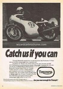 1969 TRIUMPH 650 BONNEVILLE THRUXTON A3 POSTER AD ADVERT ADVERTISEMENT