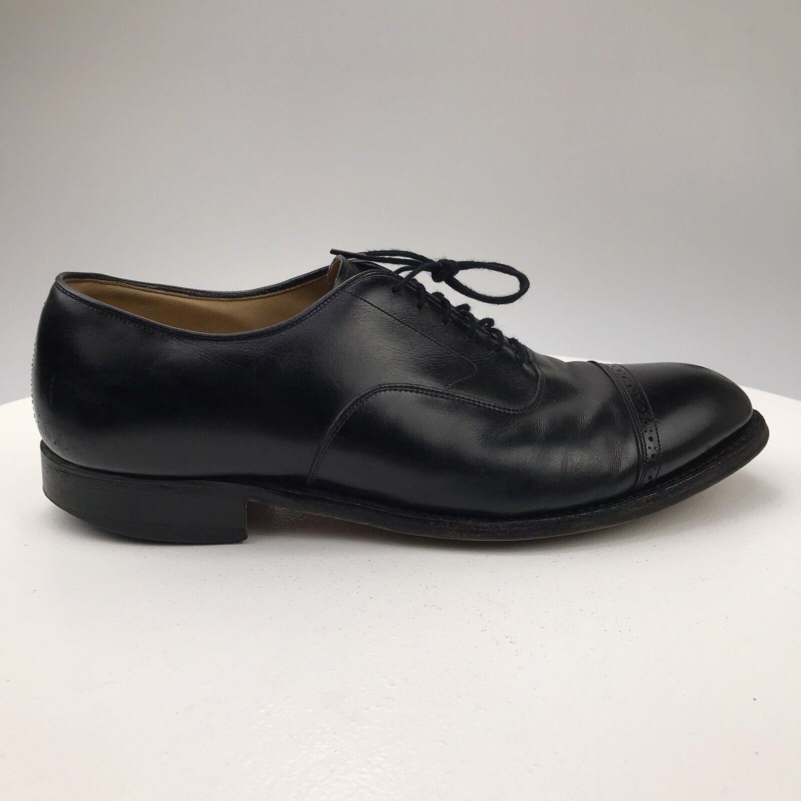 Mens 10 D Vintage USA Made Johnston Murphy Aldrich Black Leather Cap Toe Oxfords