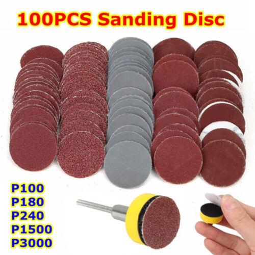 "100Pcs 1/"" Sanding Disc Hook And Loop Sandpaper Sander Backing Pad"