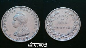 INDIA-PORTUGUESE-COLONY-1-RUPIA-1912-SILVER-COIN