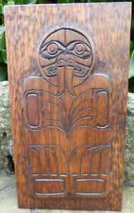 Northwest coast vintage walrus cedar relief carved plaque signed ebay