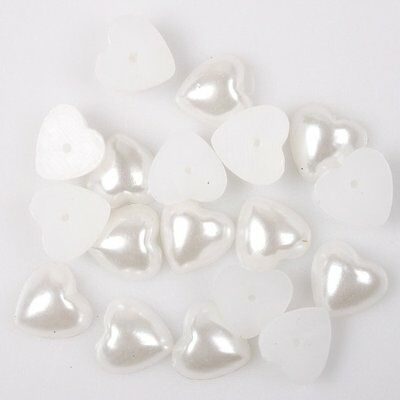 100pcs 110657 New Heart Smooth Cabochon Flatback Plastic Stick-on Pearls 10mm