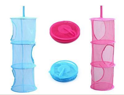 1pc Three Layer Collapsible Toys Hanging Storage Basket Laundry Mesh Organizer Q