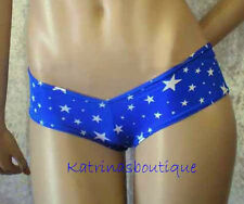 Sexy Exotic Dancer Blue Stars Ultra Hipster Booty Shorts/Made in America/M-L
