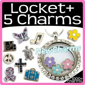 What-039-s-In-Your-Heart-Floating-Locket-amp-5-Free-Charms-Plus-Round-amp-Cross-Jewelry