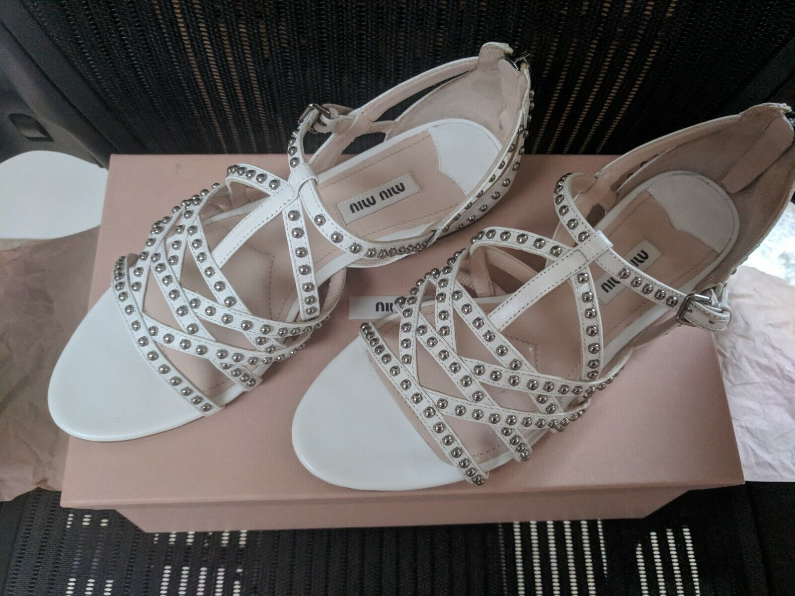 New. Miu Miu Studded Leather Strappy Sandals White 37.5  7.5