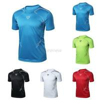 Men's Gym Sport Running T Shirt Fitness Muscle Quick Dry Stretch Top Tee Clothes