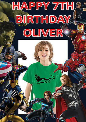 LARGE KIDS MARVEL BIRTHDAY POSTER BANNER PERSONALISED ANY NAME THEME TEXT PHOTO