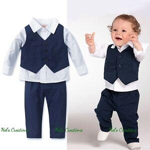 Baby-Boy-Formal-Suit-Tuxedo-Christening-Wedding-Shirt-Vest-Pants-Set-Size-0-5