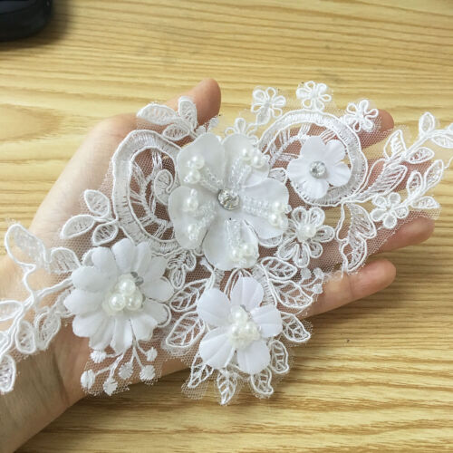 3D Flowers Costume Craft Lace Applique Embroidery Beaded Wedding Dress Motif 1PC