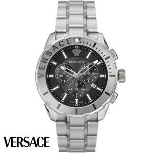 Versace-VERG00518-Casual-Chrono-schwarz-silber-Edelstahl-Armband-Uhr-Herren-NEU