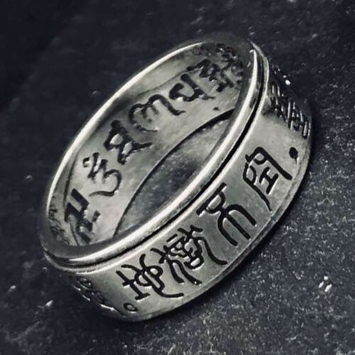 925 sterling silver Jewelry Tiebtan Buddhism Thai Silver Rotatable Ring