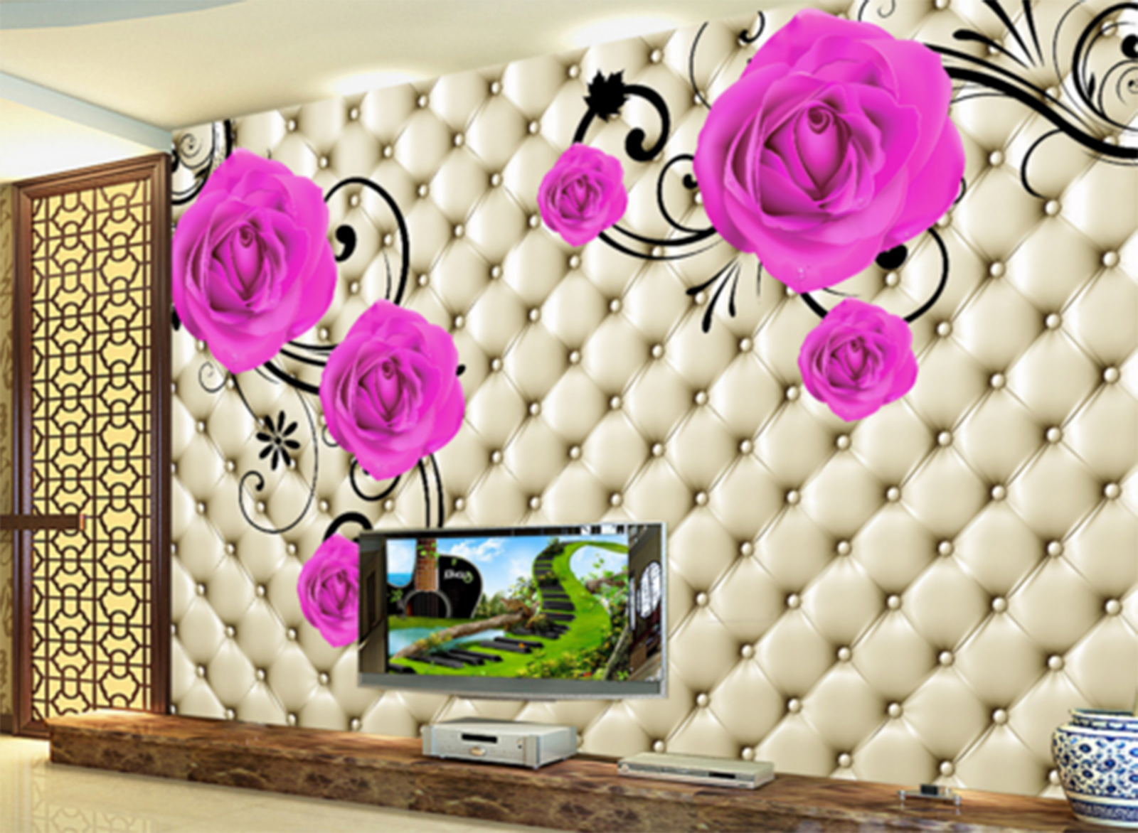 3D Petal Vines Grid Adorn Paper Wall Print Wall Decal Wall Deco Indoor Murals