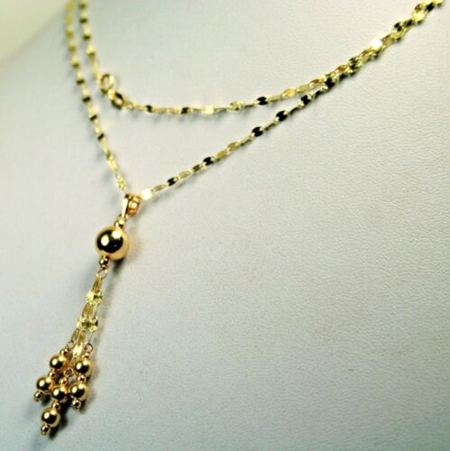 14k solid yellow gold 18 inches long round ball sparkly necklace 2.0 grams