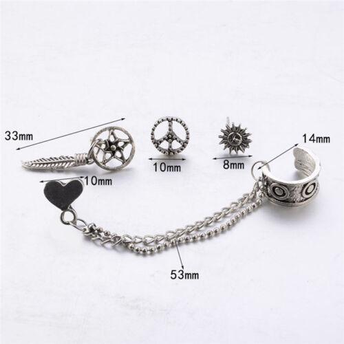 sets of women bohemian silver earrings ear clip earrings jewelry 0cn 4PCS
