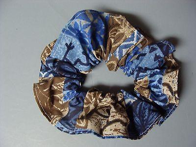 Handmade Sewn Fabric Hair Scrunchie lavender fern honu polyester cotton