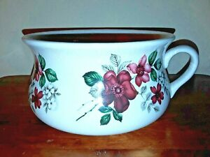 Vintage-Portmeirion-CHAMBER-POT-England-Burgundy-DOGWOOD-Stoke-On-Trent