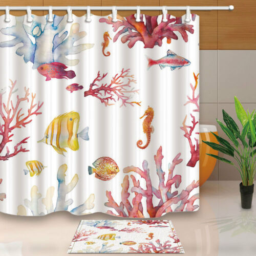 Watercolor Animal Starfish and Fish Bathroom Fabric Shower Curtain Set 71Inch