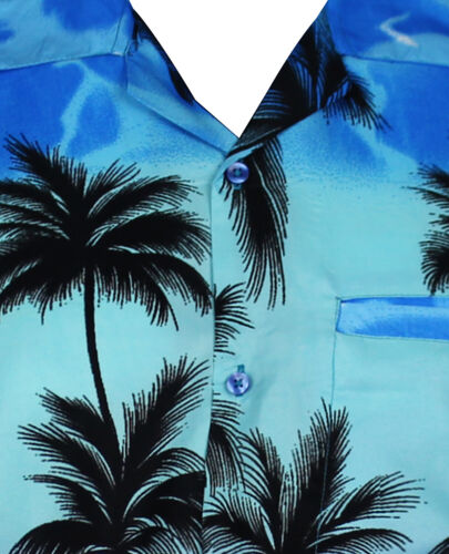 Funky Chemise Hawaïenne Hommes manches courtes Front-Sac Hawaiian Shirt Beach monoblau Hawaï