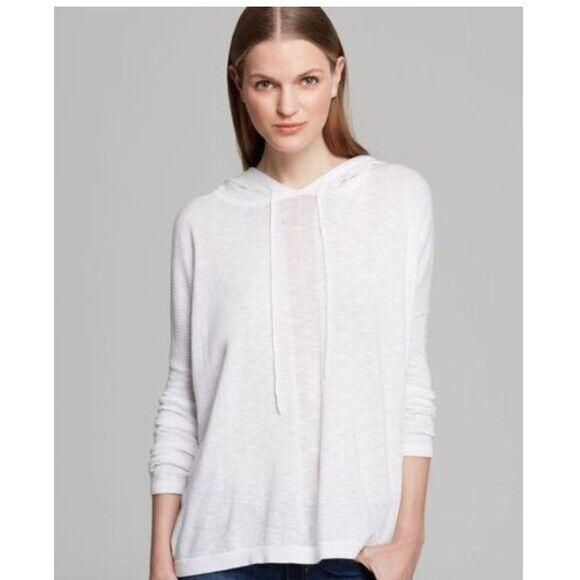 VINCE Weiß 100% Cotton Slub Hooded Long Sleeve Loose Top Sweater Med  EUC
