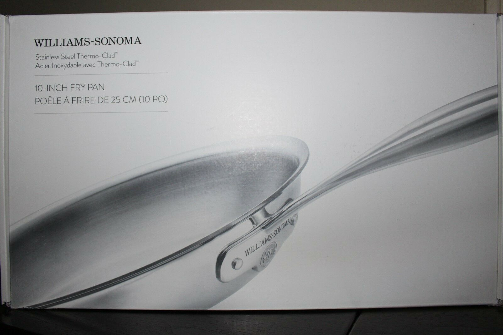 Set 2 New in Box Williams Sonoma Thermo-clad Stainless-Steel Fry Pan, 10  & 12  Poêle