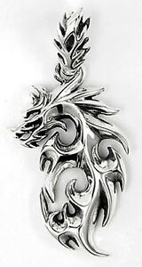 flame dragon tattoo 925 sterling silver mens pendant charm for chain necklace nr ebay. Black Bedroom Furniture Sets. Home Design Ideas