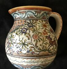 CERAMICA DE COIMBRA PORTUGAL HAND PAINTED SIGNED TALL PITCHER JAR HANDLE
