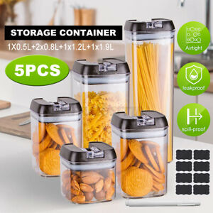Set Of 5 Airtight Dry Food Storage Containers Kitchen Stackable Cereal with Lids