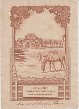 EX-LIBRIS RALPH BEAVER STRASSBURGER 1883-1959 Haras Monceaux LISIEUX (Calvados).