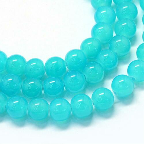 """105 Turquoise Teal Glass Beads Bulk Jelly 8mm Round 32/"""" Strand Jewelry Supplies"""