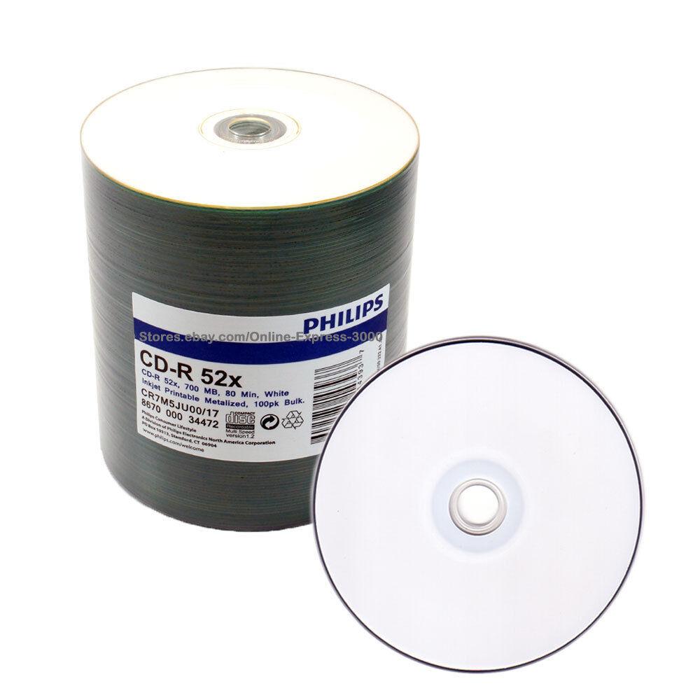 500 Philips 52x Blank White Inkjet Printable Cd R Disc Ebay