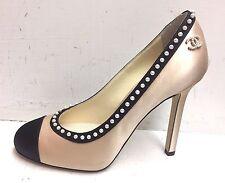 Chanel 16C Cruise 2016 CC Logo Beige Black Satin Pearl Pumps Heels Shoes 35.5