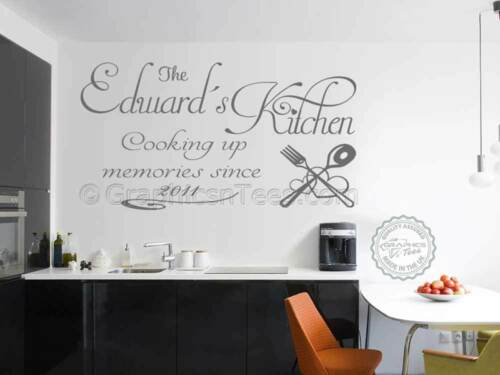 Personalised Family Wall Sticker Cooking Up Memories Kitchen Wall Quote Decal