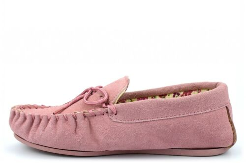 Ladies Real Suede Moccasin Slippers Women/'s Pink Navy Size 5 6 7 8