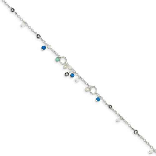 """9/"""" Argent Sterling Simulé Turquoise /& Cultured Freshwater Pearl Bracelet"""