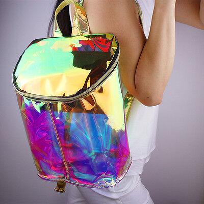 Girl Hologram Backpack Clear Transparent Bag Double Adjustable Strap Holographic
