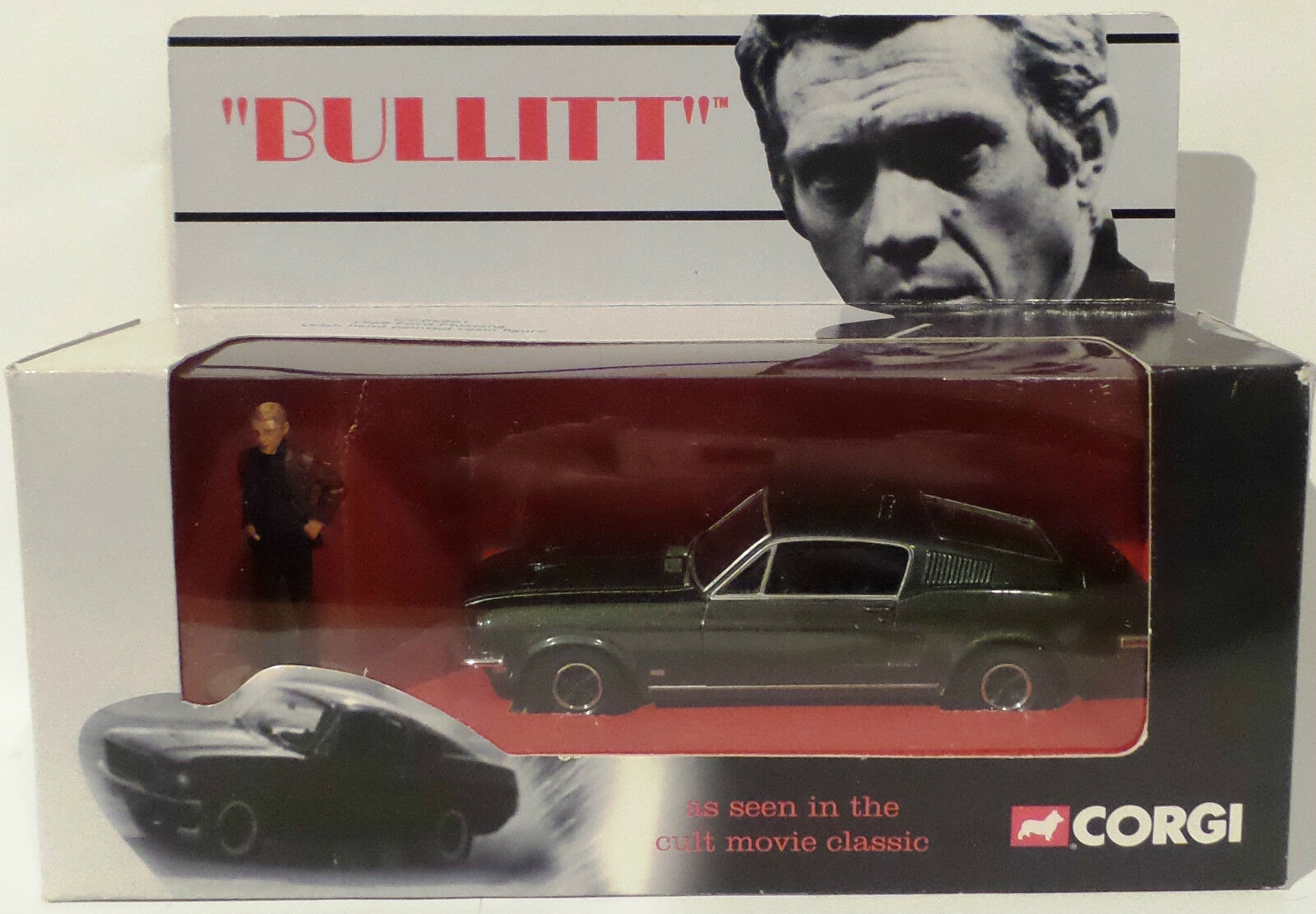 BULLITT   1968 MUSTANG DIECAST MODEL WITH LT. FRANK BULLITT RESIN FIGURE