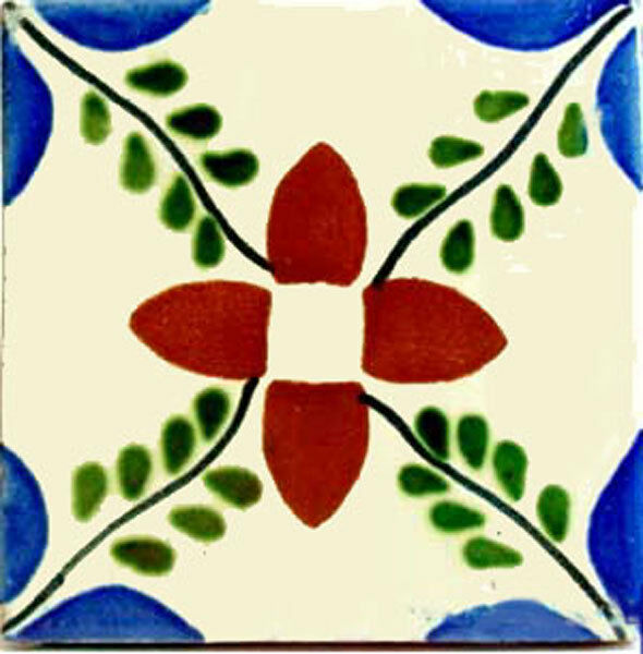 C092- Mexican Handmade Talavera Clay Tile Folk Art 4x4