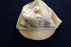 Vintage 1940's Jaune Coton Deadstock Enfant Casquette Taille 14 Vente D'éTé SpéCiale