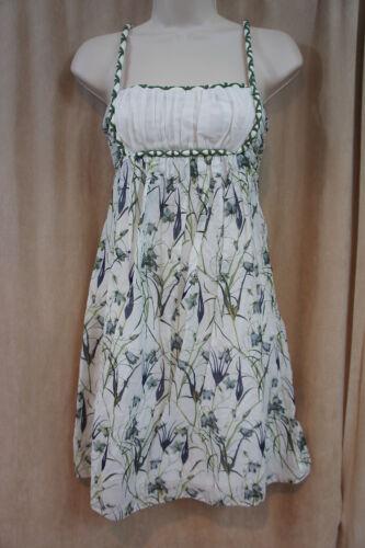 multi zijde Studio katoen gevoerd jurk olijfgroen S casual M Sz bloemen 2IEDH9