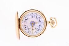 Antique Lady Waltham 14k Os 16 J Fancy Dial Louis XV Hands Hunter Pocket Watch