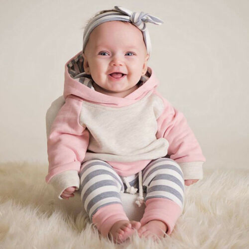 Toddler Baby Girls Winter Outfits Clothes Hoodie Tops+Pants+Headband 3PCS Set KW